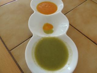 שני מרקי חורף דיאטטיים- מרק ירוק ומרק כתום לימי הקור