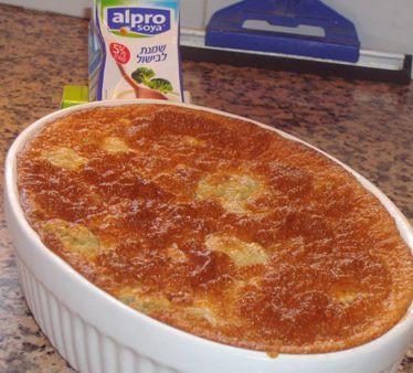 פשטידה דיאטטית משמנת לבישול צמחית על בסיס סויה (4 מנות כל מנה כ- 150 קלוריות)