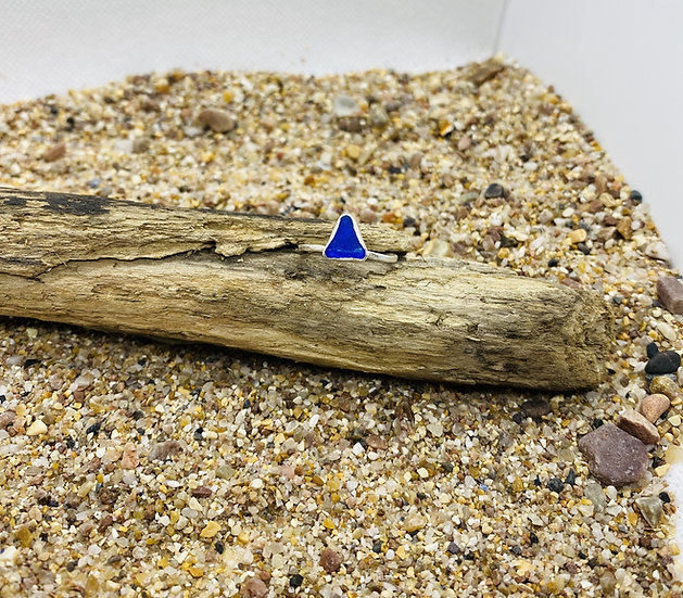 Cobalt Triangle Sea Glass Ring SIZE N