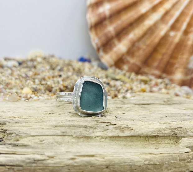 Blue Sea Glass Ring SIZE M