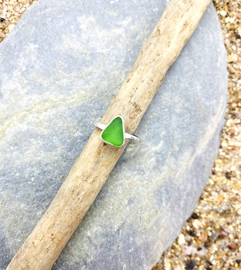 Green Sea Glass Ring SIZE M