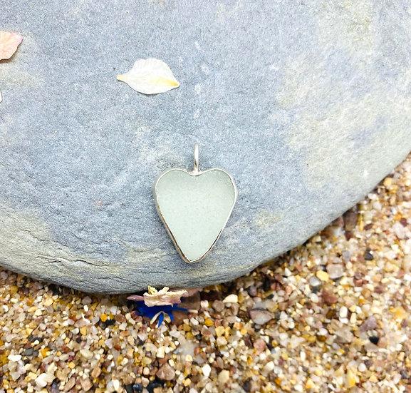 Seafoam Sea Glass Heart Necklace