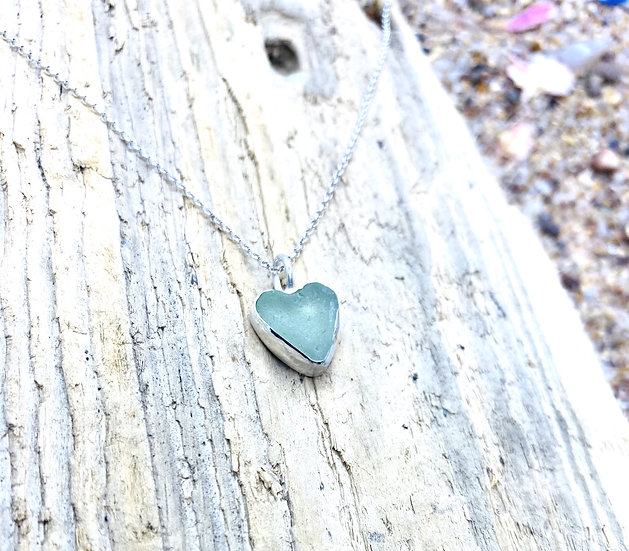 Pale Green Sea Glass Heart Necklace