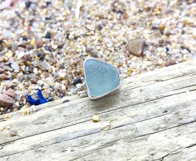 Aqua Sea Glass Beaded Ring SIZE N