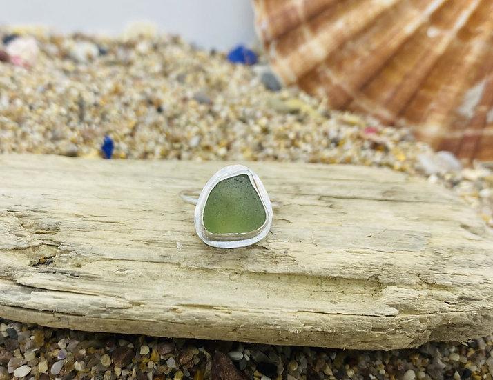 Green Sea Glass Ring SIZE O