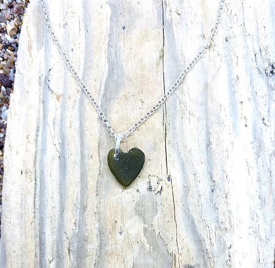 Dark Olive Heart Necklace