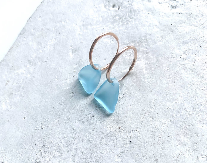 Rose Gold Tumbled Glass Hoops