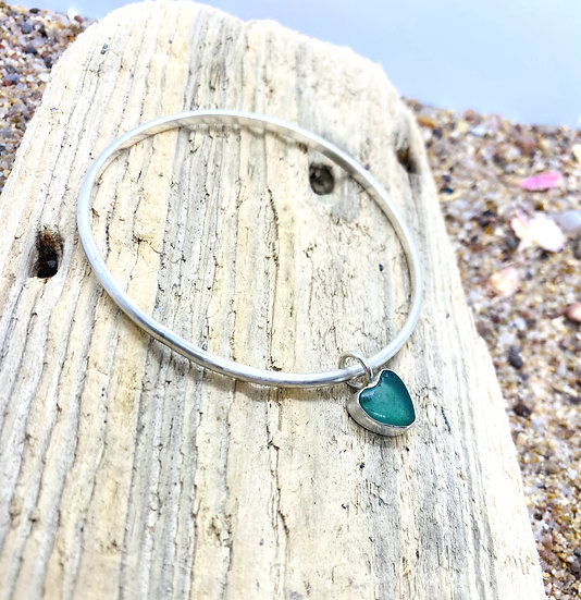 Sterling Silver Sea Glass Heart Bangle