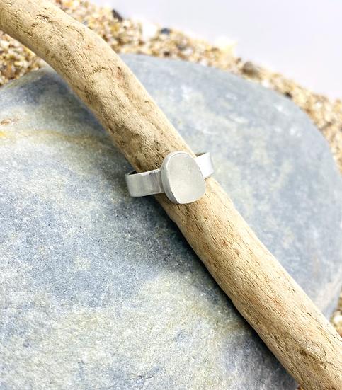 White Sea Glass Ring SIZE P