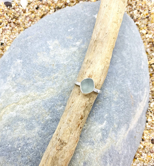 Blue Sea Glass Ring SIZE G 1/2