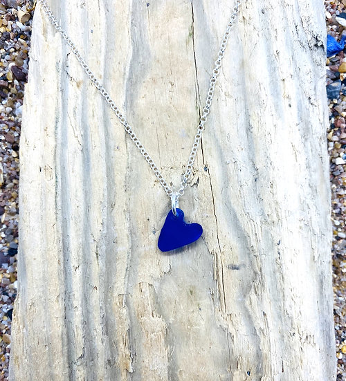 Midnight Blue Tumbled Heart Necklace