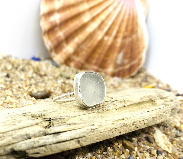 White Sea Glass Beaded Ring SIZE O