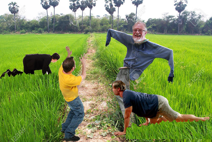 FARMERS ERECT TONY MACMAHON SCARECROWS TO STOP BOUZOUKI PLAYERS DESTROYING CROPS