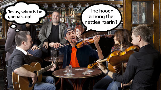 MOOD TAKES GRIM TURN IN SESSION AS UNKOWN FIDDLER GOES INTO 6TH REEL