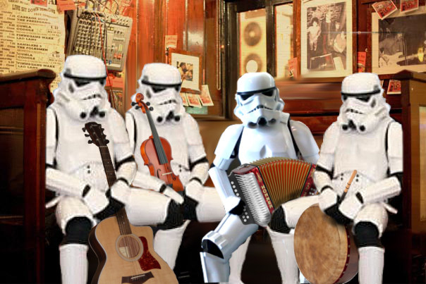 DONEGAL SESSIONS INVADED BY TRAD PLAYING STORMTROOPERS