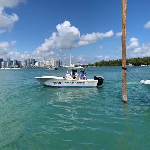 Running tests at the Miami International Boat show
