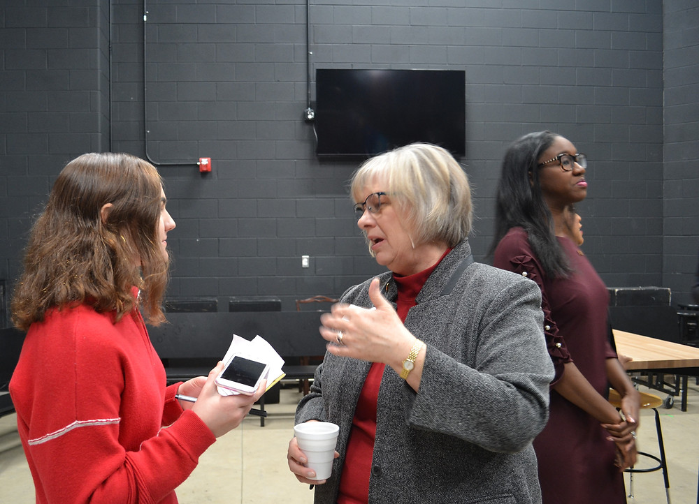 Senator Rosemary Bayer, back stage with editor Nikki Barnas, highlights the new challenges technology brings to communication.