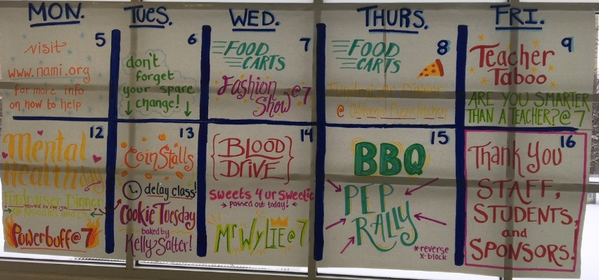 This is the Charity Week Calendar for all the events going on from February 7th - February 15th