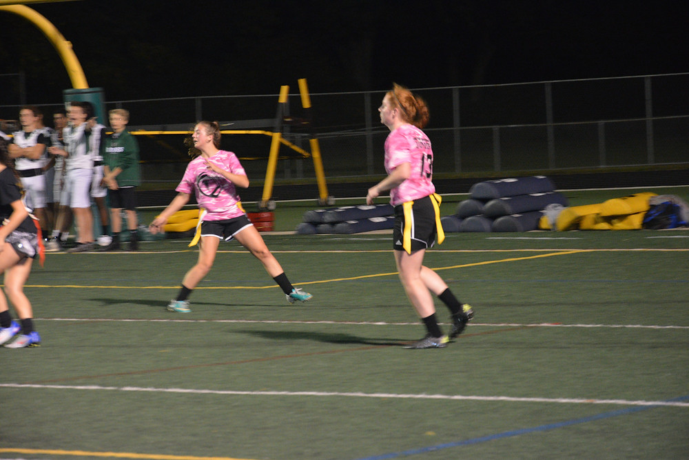 Juniors Chrissy Tyndall and Emily Jurgia play tight ends at junior's offensive line.  Juriga scored the winning touchdown in the fourth quarter.