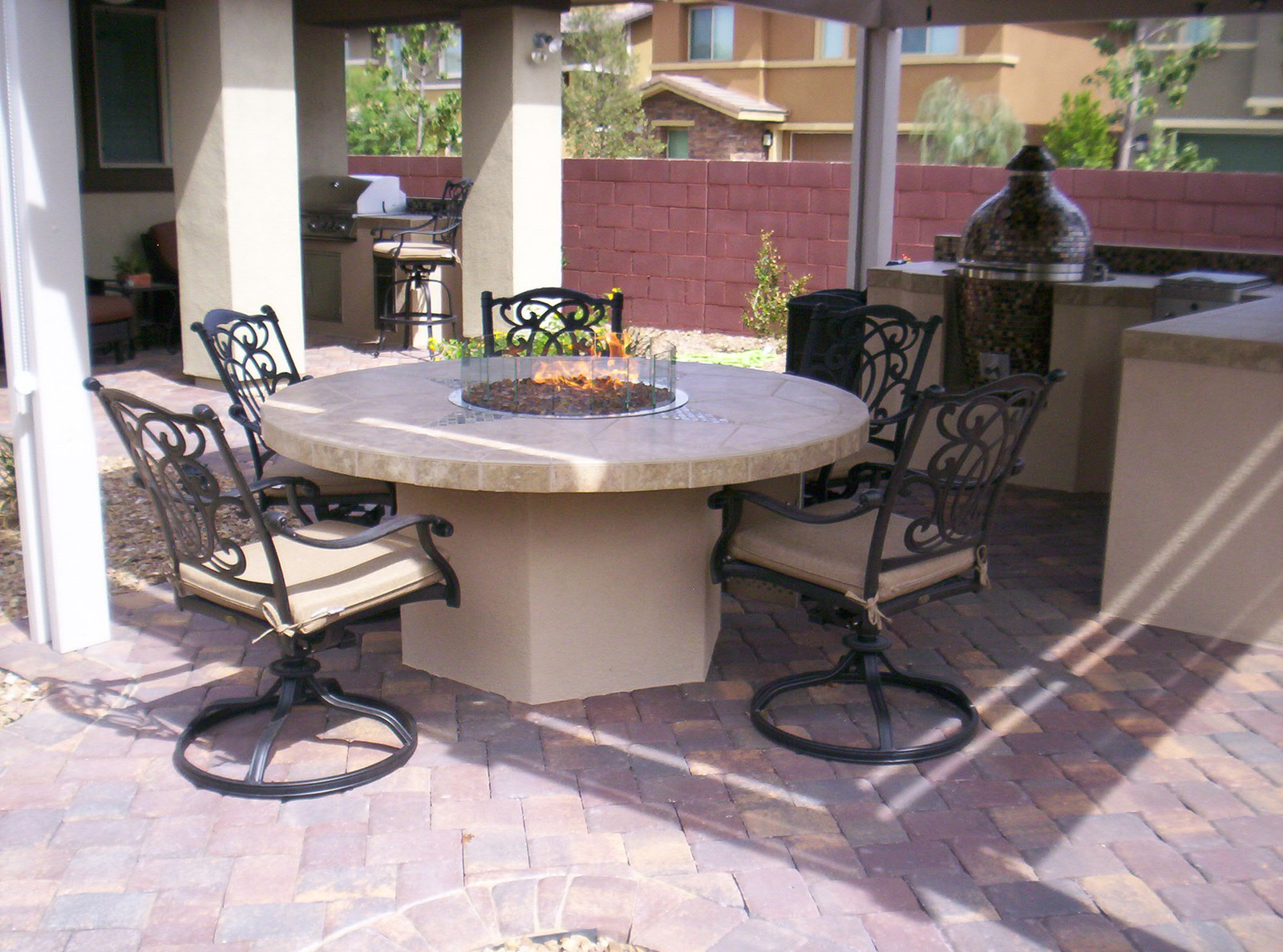 Outdoor kitchen fire feature fire pit tile pavers kamado grill outdoor furniture meadowcraft