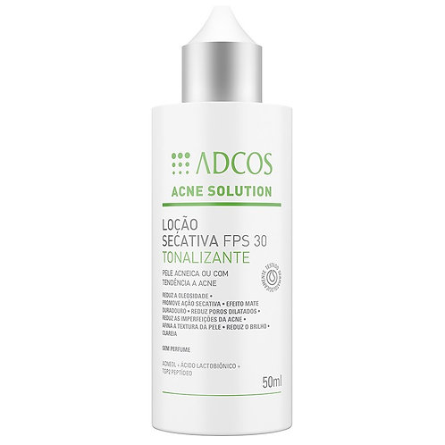 ACNE SOLUTION LOÇÃO SECATIVA FPS30 TONALIZANTE 50ml - Adcos