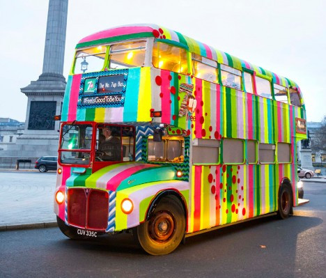 London Bus Yarn Bombed