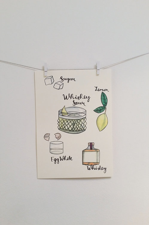 Whiskey Sour Illustrated Recipe
