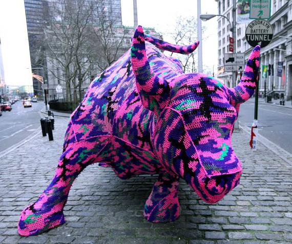 Wall Street Bull Yarn Bomb