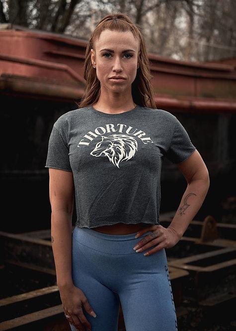 She-Wolf cut off crop top grey