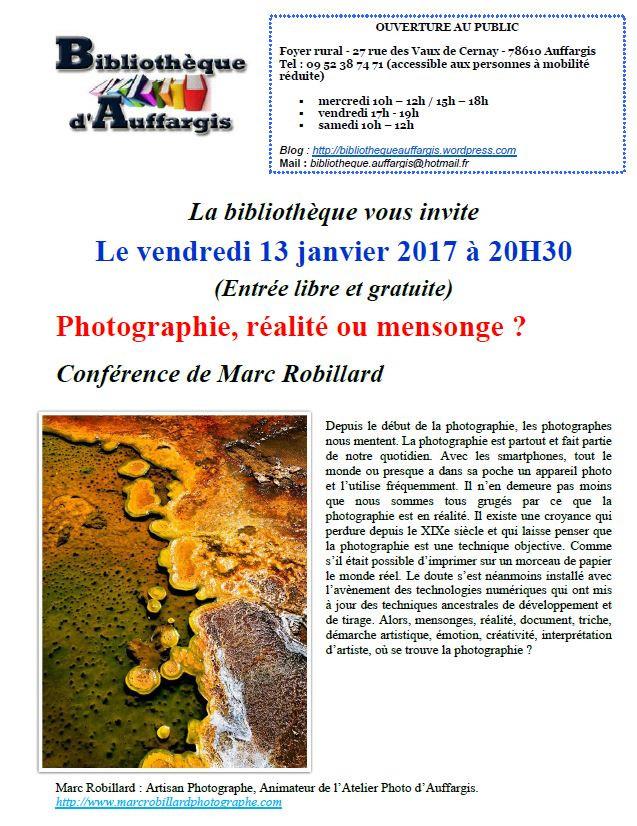Affiche conférence Photographie: Réalité ou menssonge