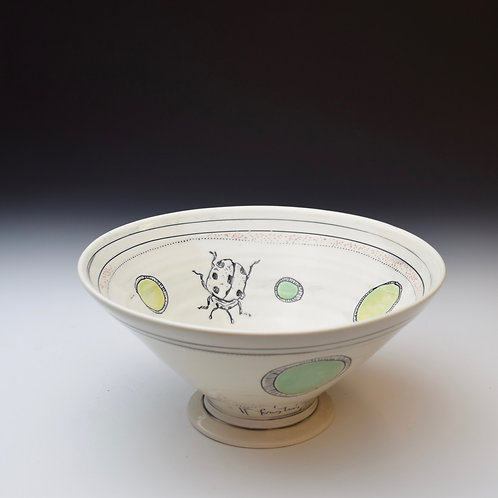 Lady Bug Pedestal Bowl