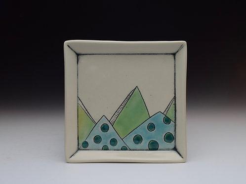 Polka Dot Mountains Plate- Blues