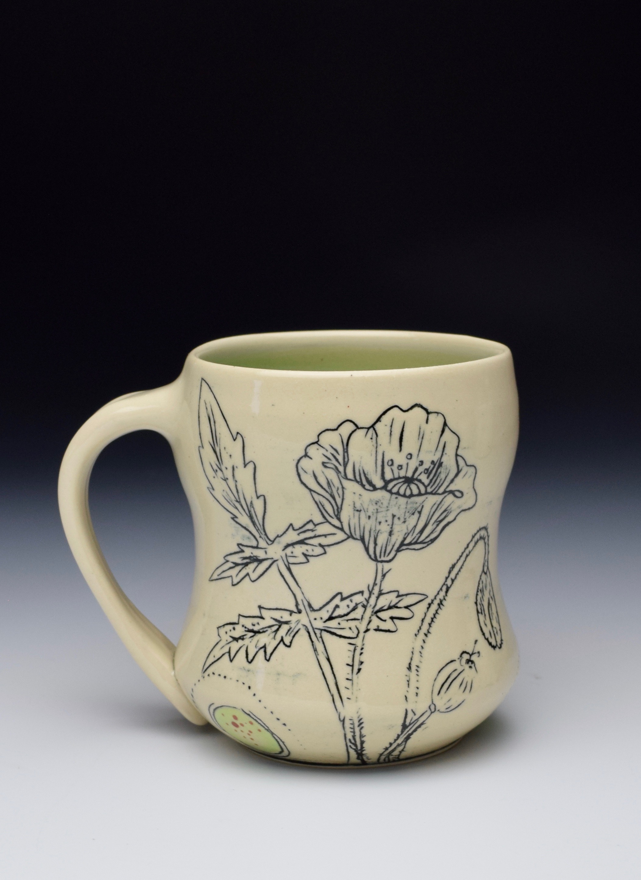 Mishima Carved Poppy Mug