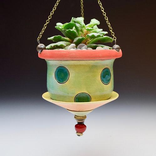 Teal Dot Hanging Succulent Planter