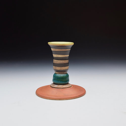Whimsy Candle Stick- Teal and Stripes