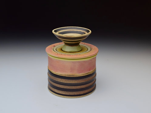 Pinstriped and Pink Butter Keeper