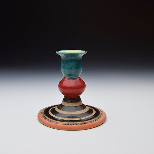 Whimsy Candle Stick- Teal and Cherry