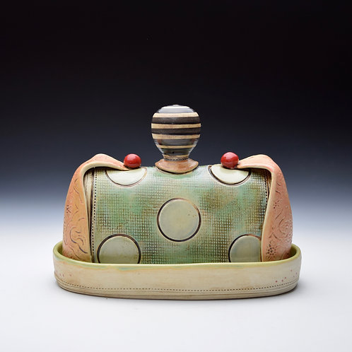 Mint Dot Whimsy Butter Dish