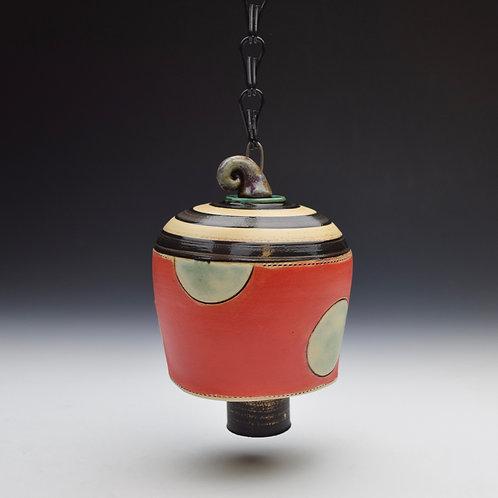 Whimsy Garden Bell Chime- Turquoise Dot- Medium