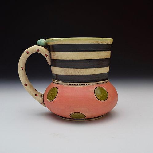 Green Dot n' Stripy Whimsy Mug