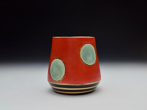 Whimsy Wine Cup- Turquoise Dot