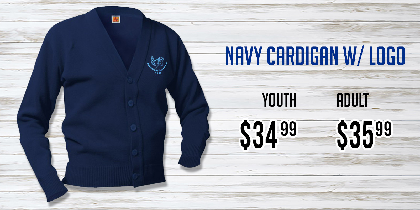 Escuela de Guadalupe Navy Cardigan NEW.j