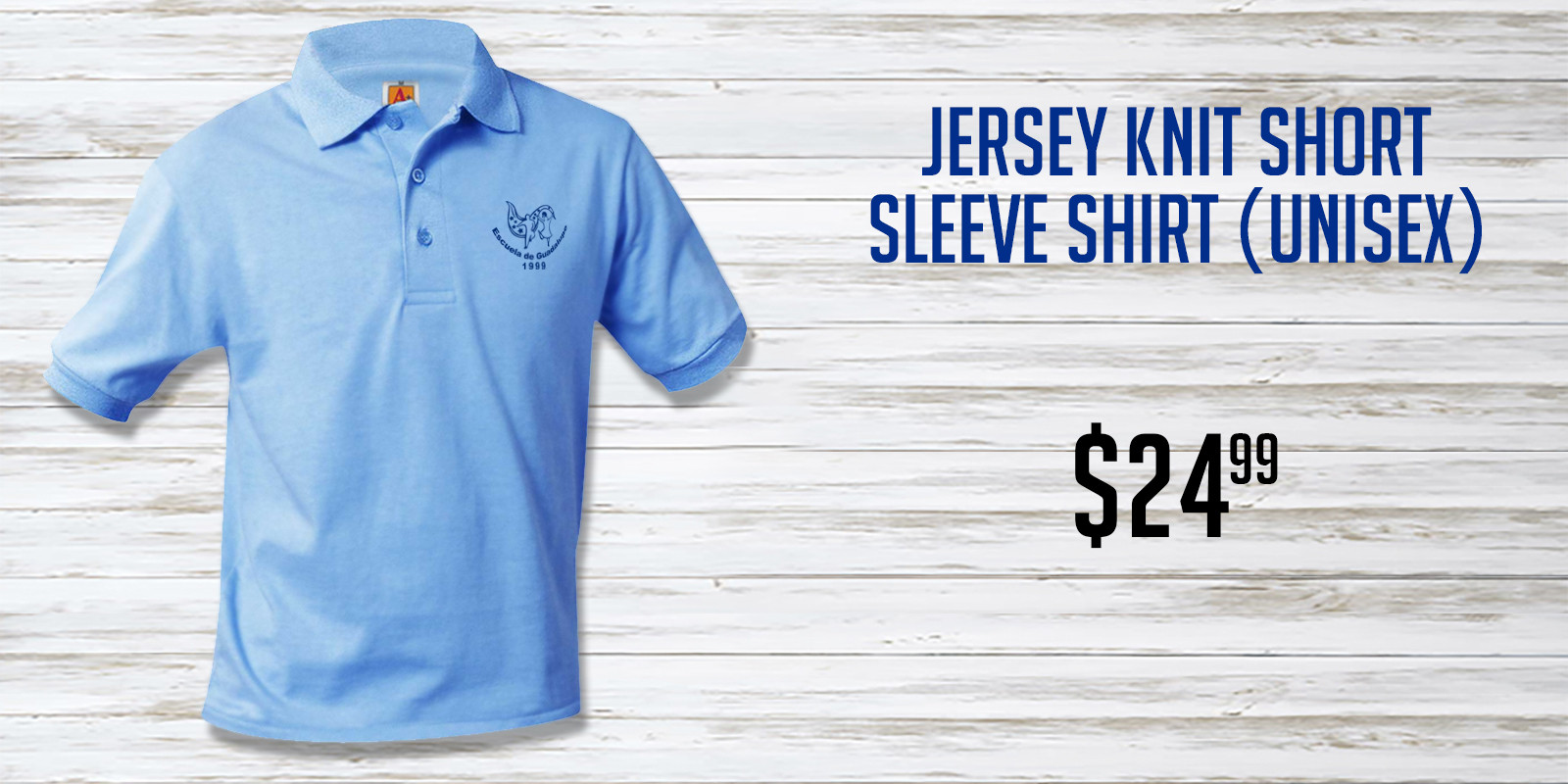 Escuela de Guadalupe Blue Jersey Knit Sh