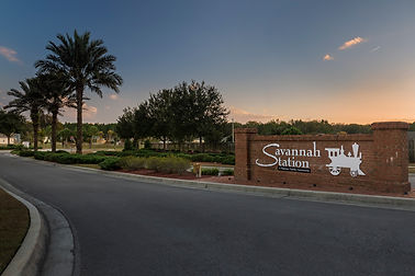 Entrance to new subdivision in Alachua, Florida called Savannah Station.