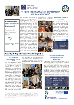 1st Newsletter of HelpMi Project