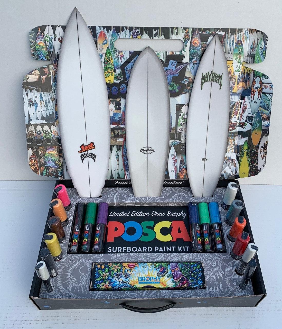 Mini Surfboard Posca Sunset painting