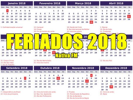Veja a lista de feriados e pontos facultativos em 2018