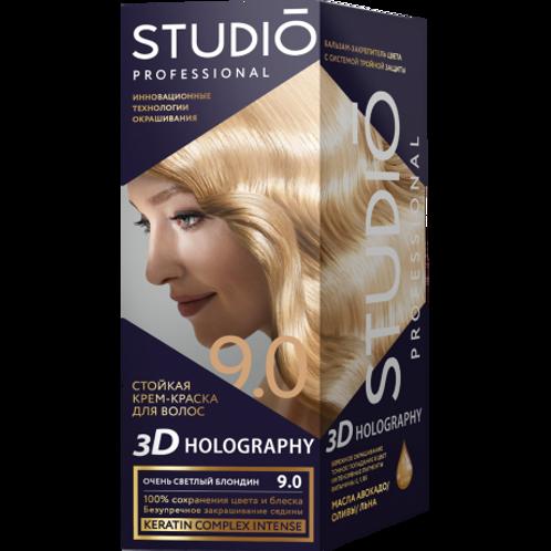 STUDIO 9.0 ОЧЕНЬ СВЕТЛЫЙ БЛОНДИН СТОЙКАЯ КРЕМ-КРАСКА ДЛЯ ВОЛОС 3D HOLOGRAPHY