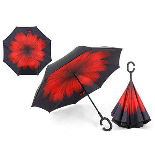 """Зонт трость Наоборот """"Красный цветок"""""""