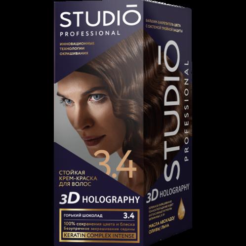 STUDIO 3.4 ГОРЬКИЙ ШОКОЛАД СТОЙКАЯ КРЕМ-КРАСКА ДЛЯ ВОЛОС 3D HOLOGRAPHY